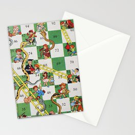 Vintage snakes and ladders Stationery Cards