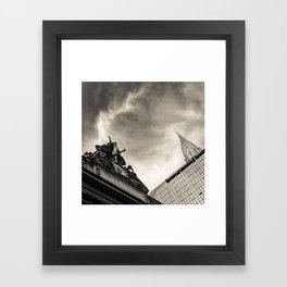 Slice of New York - Grand Central Station, Skyscraper and Office Building in Cream Tones Framed Art Print