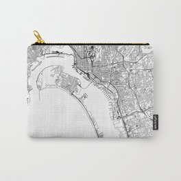San Diego White Map Carry-All Pouch