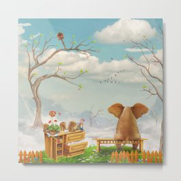 Elephant on a bench in the sky Metal Print
