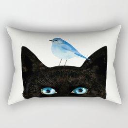 Cat and Bird Rectangular Pillow