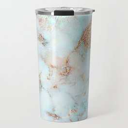 Soft Whites, Aquas and Blush of Pink and Rose Gold Veins Marble Travel Mug