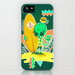 Alien Surfer Nineties Pattern iPhone Case