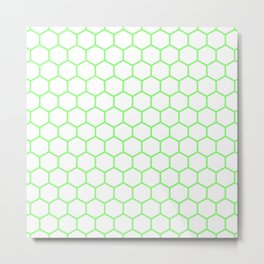 Honeycomb (Light Green & White Pattern) Metal Print