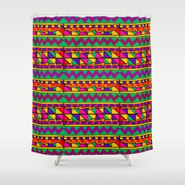 Latin American Pattern. Zigzag Squares Triangle Patterns. Colourful Pattern. Latin America. Funky Shower Curtain