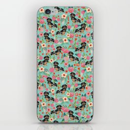Dachshund dapple coat dog breed floral pattern must have doxie gifts dachsies iPhone Skin