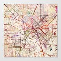 dallas Canvas Prints featuring Dallas by MapMapMaps.Watercolors