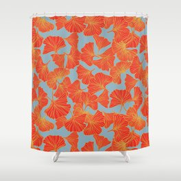 Tumbling Ginkgo Red Shower Curtain