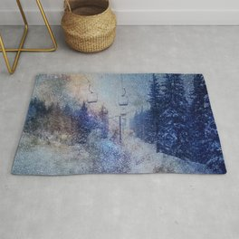 Chairlift into the Universe // Milky Way Galaxy Snowboarding Snow Nebula Stars Mixed Media Popart Rug