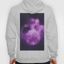 Male homosexuality symbol. Gay glyph. Doubled male sign. Abstract night sky background Hoody