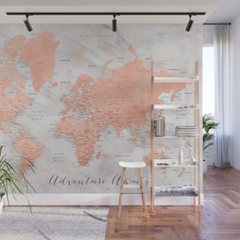 """Adventure awaits world map in rose gold and marble, """"Janine"""" Wall Mural"""