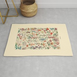 Vintage Floral Drawings // Fleurs by Adolphe Millot 19th Century Science Textbook Artwork Rug