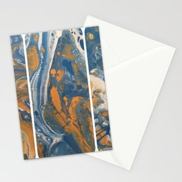 Blue Gold Acrylic Pour Panels Stationery Cards