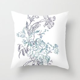Flowers from an old Paris dish Throw Pillow