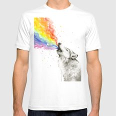 Wolf Rainbow Watercolor Howling Animal Whimsical Animals Mens Fitted Tee MEDIUM White