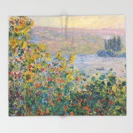 1881-Claude Monet-Flower Beds at Vétheuil-73 x 92 Throw Blanket