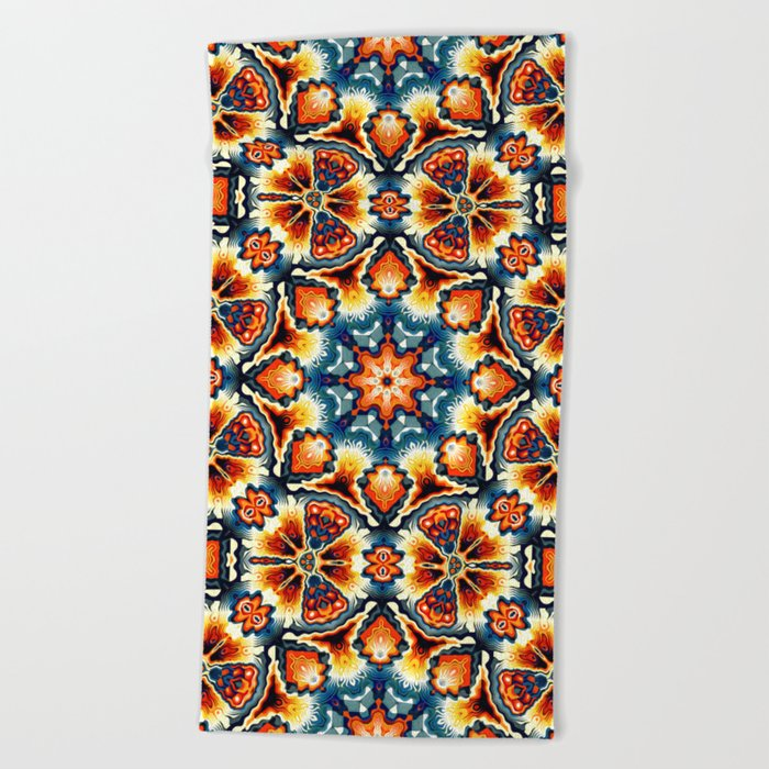 Colorful Concentric Motif Beach Towel
