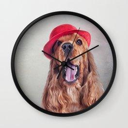 Drawing dog English Cocker Span portrait Wall Clock