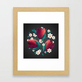 Bouquet (Tulipes et Marguerittes) Noir Framed Art Print