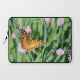 Orange Butterfly on Chives Laptop Sleeve