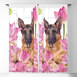 German Sheep Dog Lotos Field Blackout Curtain