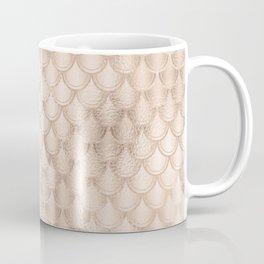 Glam Salmon Pink Mermaid Scallops Pattern Coffee Mug
