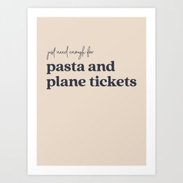 Pasta and Plane Tickets - Navy Art Print