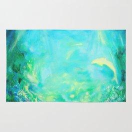 Undersea. Dolphins life Rug