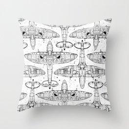 Spitfire Mk. XIV (black) Throw Pillow