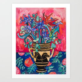 Persephone Painting - Bouquet of Iris and Strelitzia Flowers in Greek Horse Vase Against Coral Pink Art Print
