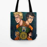 percy jackson Tote Bags featuring Percy Jackson and the Olympians, The Last Olympian by Yuri Meister
