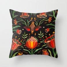 Singing Flowers - Night Throw Pillow