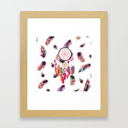 Hipster Watercolor Dreamcatcher Feathers Pattern Framed Art Print