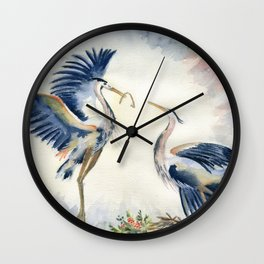 Great Blue Heron Couple Wall Clock