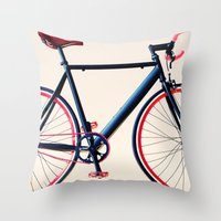 tour de france Throw Pillows featuring Tour de France, Giro d'Italia, Bicycle by Caroline Mint