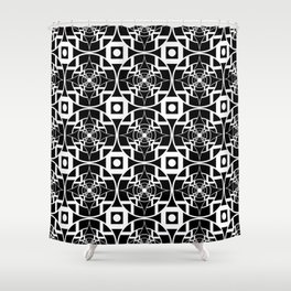 Convergence Pattern - Black on White Shower Curtain