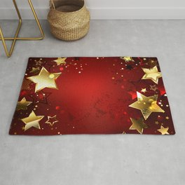 Red Background with Gold Stars Rug