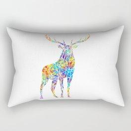 Colorful Watercolor Geometric Deer Rectangular Pillow