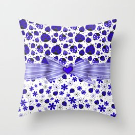 Fancy Blue Ladybugs and Flowers Throw Pillow