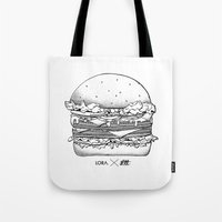 burger Tote Bags featuring Burger by Les Très Tresses