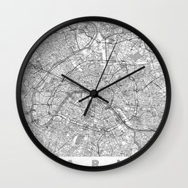 Paris Map Line Wall Clock
