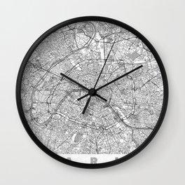 Paris Map Line Wall Clock