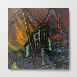 The Church, midnight cityscape painting by Edith Desternes Metal Print