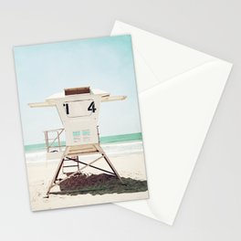 Lifeguard Stand, Beach Photography, San Diego California, Blue Aqua Seashore Ocean Summer Art Stationery Cards