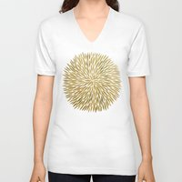 golden V-neck T-shirts featuring Golden Burst by Cat Coquillette