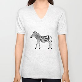 Zebra 1B Without White Stripes Unisex V-Neck