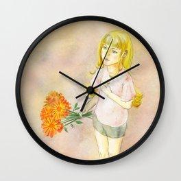 Girl with calendula Wall Clock