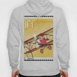 Postage stamp printed in Soviet Union shows vintage airplane Hoody
