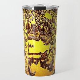 Golden Mountain Sunset - Travel Mug