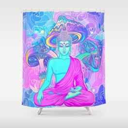 Sitting Buddha among psychedelic Mushrooms Shower Curtain